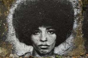 "USA activist Angela Davis grafitti in the ""Abode of Chaos"" museum of contemporary art, in Saint-Romain-au-Mont-d'Or, Rhône-Alpes"