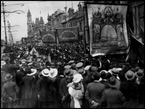Trade Union Procession, 1918. Photo: State Library of South Australia: https://www.flickr.com/photos/state_library_south_australia/3368489537