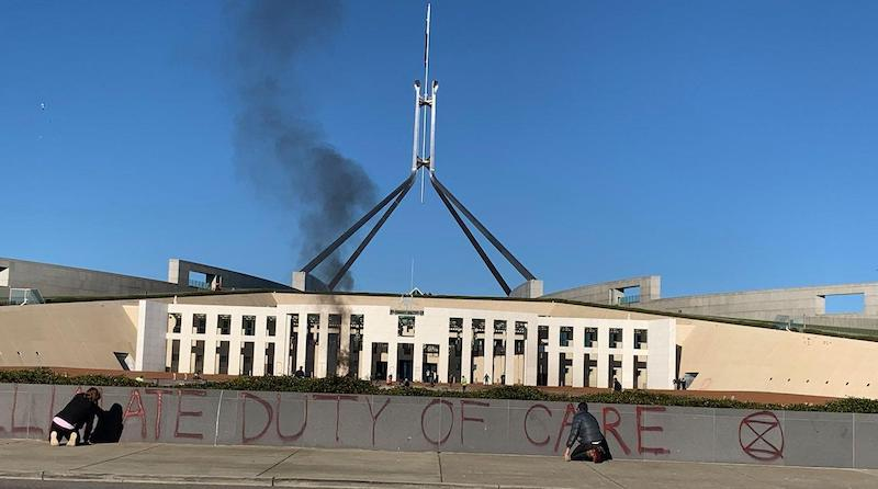 On Dissent - Green Agenda - Extinction Rebellion - Duty Of Care Canberra action - Parliament House